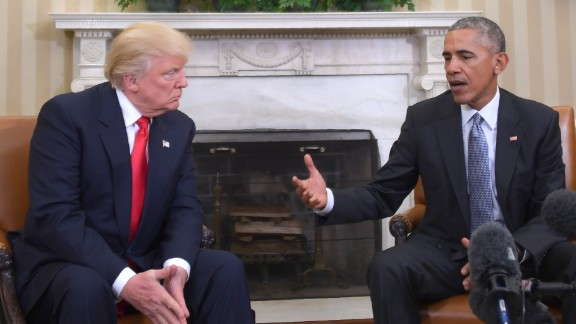 US President Barack Obama meets with President-elect Donald Trump in the Oval Office at the White House on November 10, 2016 in Washington, DC.