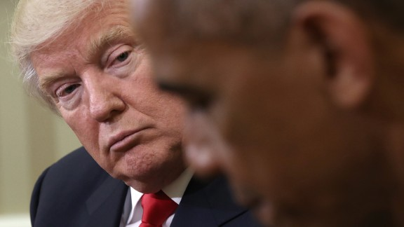 WASHINGTON, DC - NOVEMBER 10:  U.S. President Barack Obama speaks while meeting with President-elect Donald Trump (L) following a meeting in the Oval Office November 10, 2016 in Washington, DC. Trump is scheduled to meet with members of the Republican leadership in Congress later today on Capitol Hill.