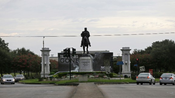 A statue of P.G.T. Beauregard is seen at the entrance to City Park at Esplanade Avenue in New Orleans in  September 2015.