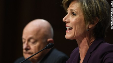 Former acting Attorney General Sally Yates (R) and former Director of National Intelligence James Clapper testify on May 8, 2017, before the US Senate Judiciary Committee on Capitol Hill in Washington, DC.