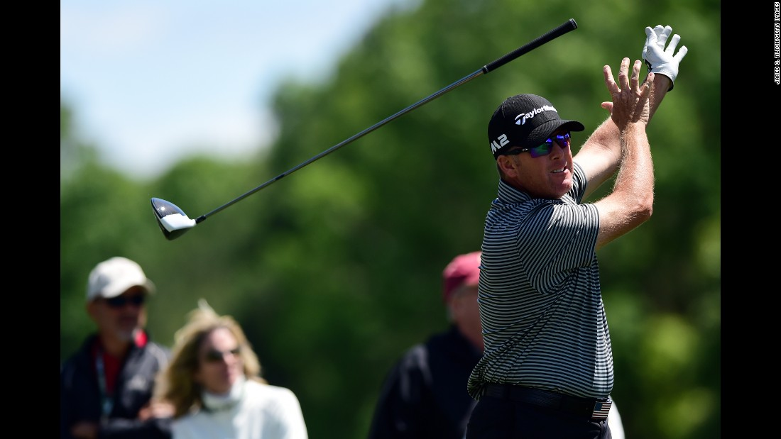 D.A. Points releases his club after a tee shot at the Wells Fargo Championship on Saturday, May 6. The PGA Tour event was moved to Wilmington, North Carolina, this year. Its usual course, the Quail Hollow Club in Charlotte, North Carolina, will be hosting the PGA Championship in August.