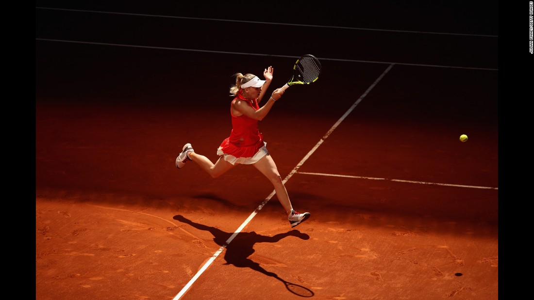 Caroline Wozniacki plays a shot at the Madrid Open on Sunday, May 7.