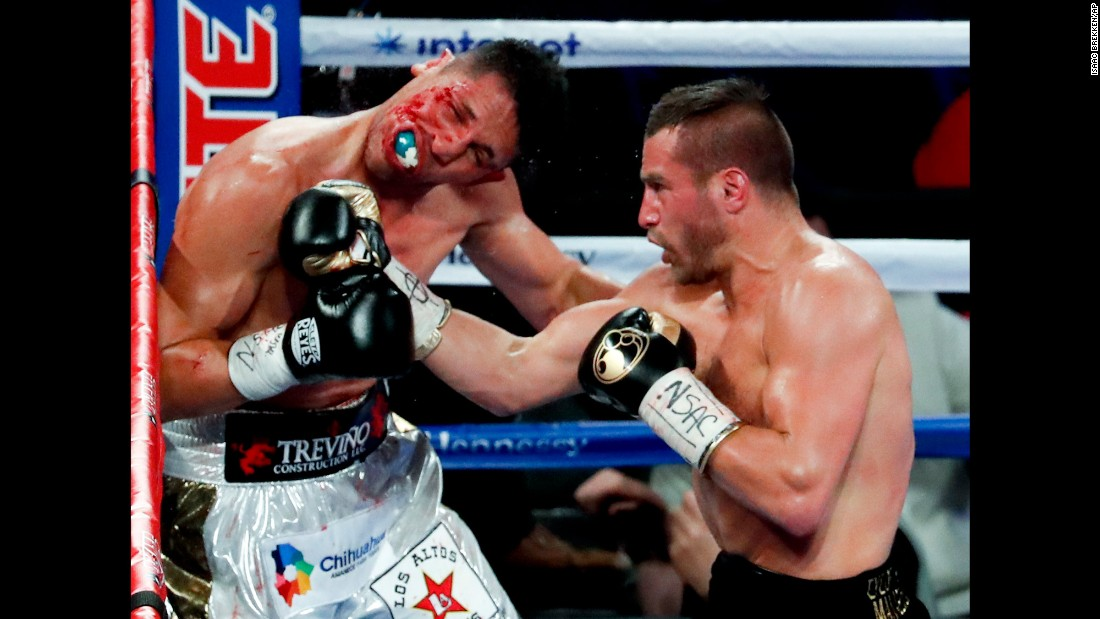 David Lemieux punches Marco Reyes during their middleweight bout in Las Vegas on Saturday, May 6. Lemieux won by unanimous decision.