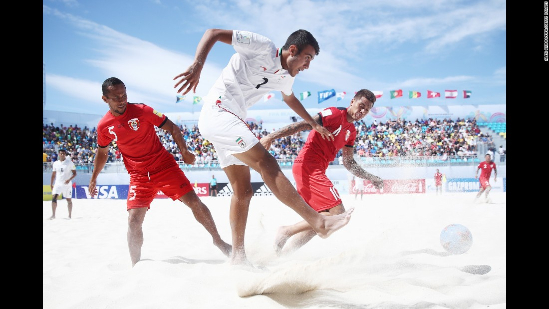 Iran's Ali Mirshekari passes the ball during the semifinals of the Beach Soccer World Cup on Saturday, May 6. Tahiti won the match on penalties and advanced to the final, where it lost to Brazil.