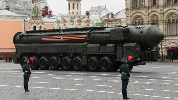 A Russian Yars RS-24 intercontinental ballistic missile system on display at Red Square on Tuesday.