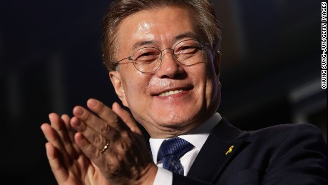South Korean President-elect Moon Jae-in, of the Democratic Party of Korea, celebrates with supporters at Gwanghwamun Square on May 9, 2017 in Seoul, South Korea.