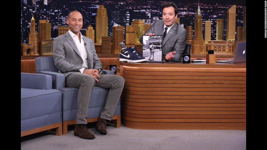 "Jeter is interviewed by ""Tonight Show"" host Jimmy Fallon in October 2014."