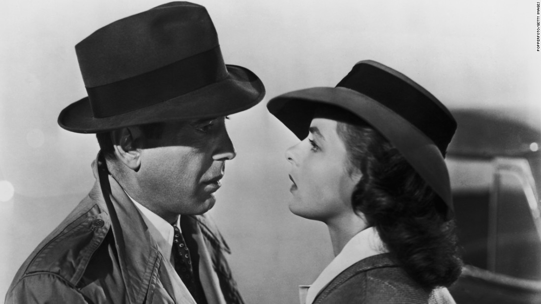 "Another famously ill-fated couple, Rick (Humphrey Bogart) and Ilsa (Ingrid Bergman) in the Warner Bros. classic ""Casablanca"" from 1942. What else is there to say but ""here's looking at you, kid."""