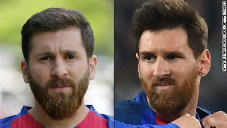 Meet the iranian messi doppleganger cnn video combo this combination of pictures created on may 08 2017 shows l thecheapjerseys Choice Image