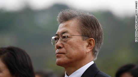 South Korean President Moon Jae-in arrives at the National Cemetery in Seoul on Wednesday.