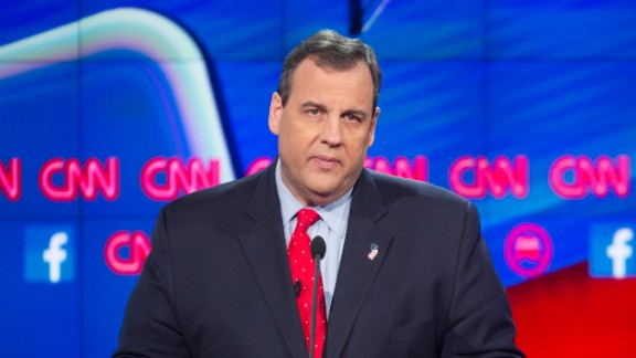 Governor Chris Christie during the CNN Republican Debate at the Venetian Hotel in Las Vegas, Nevada.