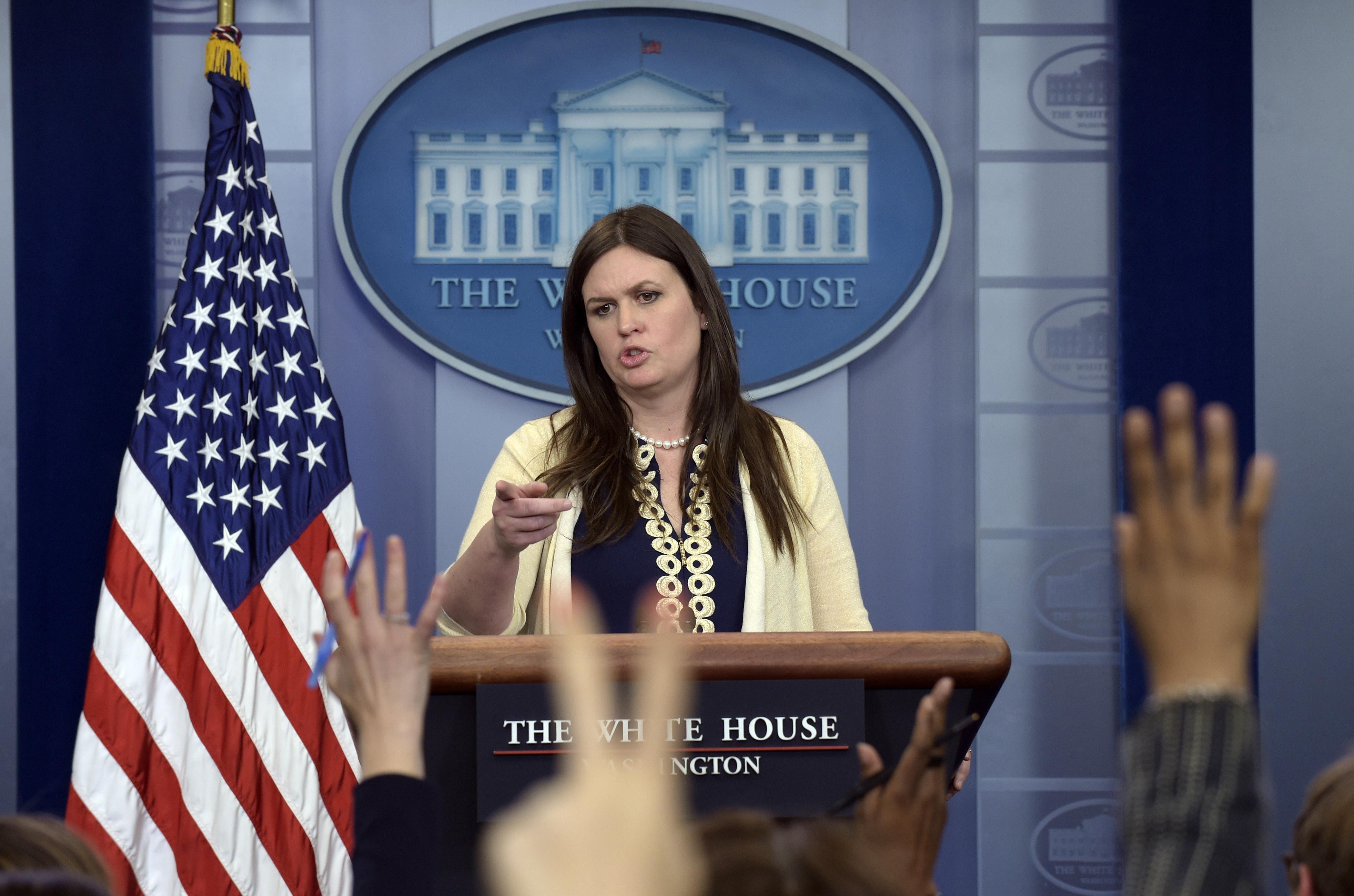 Image result for White House spokeswoman Sarah Huckabee Sanders