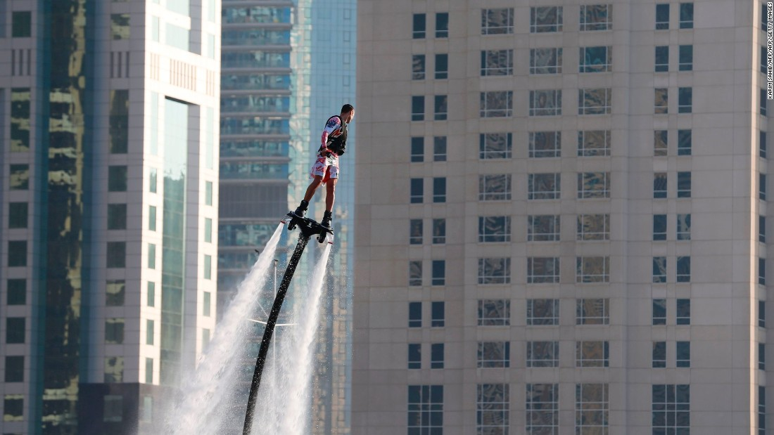 Attach a wakeboard with two pipes to a powerful jet ski and you get flyboarding, one of Dubai's more surreal watersports. Daredevils can reach heights of up to 30 feet above the water's surface.