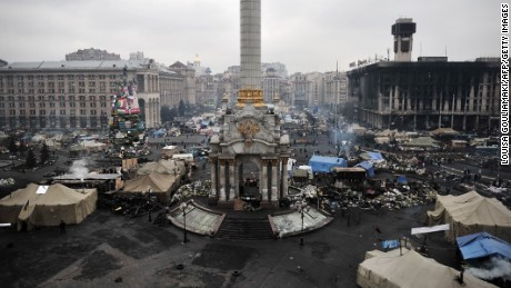A view taken on February 28, 2014 shows a protesters' camp at the Independence square in central Kiev.