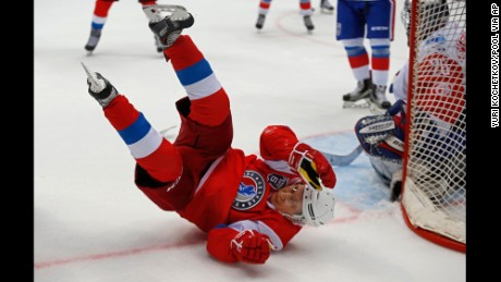 Putin took a tumble during the exhibition match in Sochi.