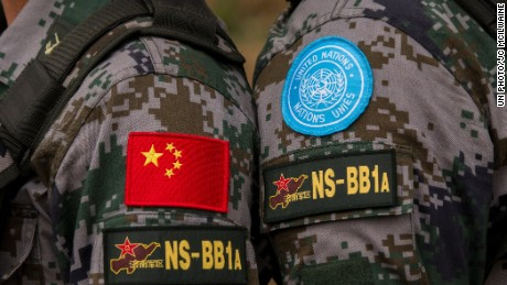 Welcoming ceremony for first detachment of China's peacekeeping infantry battalion to arrive in South Sudan.  China has contributed in other capacities in the past but this is the first time they have contributed an entire infantry battalion to UN peacekeeping.  144 soldiers arrived today; 520 are scheduled to follow in the near future.