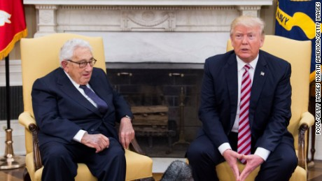 President Donald Trump meets with former Secretary of State Henry Kissinger in the Oval Office at the White House on May 10, 2017 in Washington, DC.