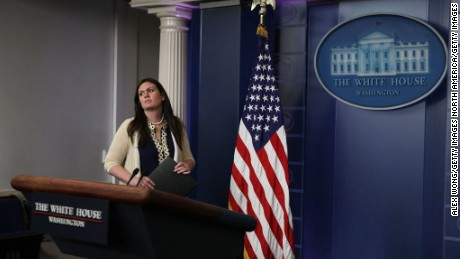 White House Principal Deputy Press Secretary Sarah Sanders approaches the podium to conduct a daily news briefing at the James Brady Press Briefing Room at the White House May 10, 2017 in Washington, DC.