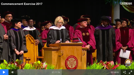 Screenshot of Education Secretary Betsy DeVos speaking from the Bethune-Cookman University commencement livestream