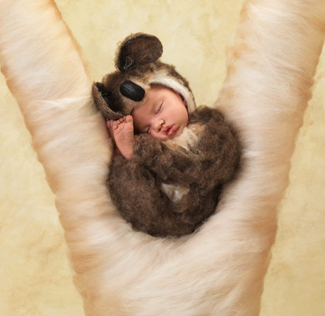 Angelina, 3 weeks old, dressed as a koala in 2012.