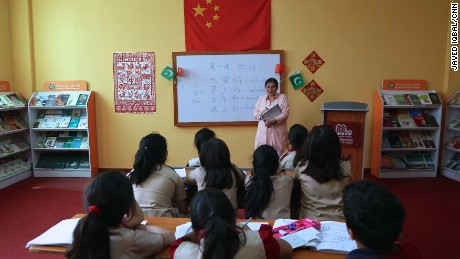 Pakistani children are being taught Chinese