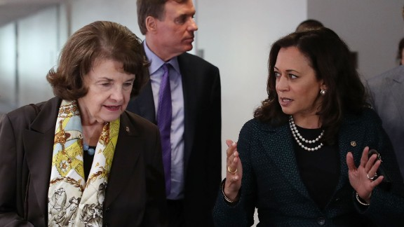 Sen. Dianne Feinstein (D-CA)(L) walks with Sen. Kamala Harris (D-CA) and Sen. Mark Warner (D-VA) (C), to a Senate Select Committee on Intelligence closed door meeting at the U.S. Capitol, on April 27, 2017 in Washington, DC.