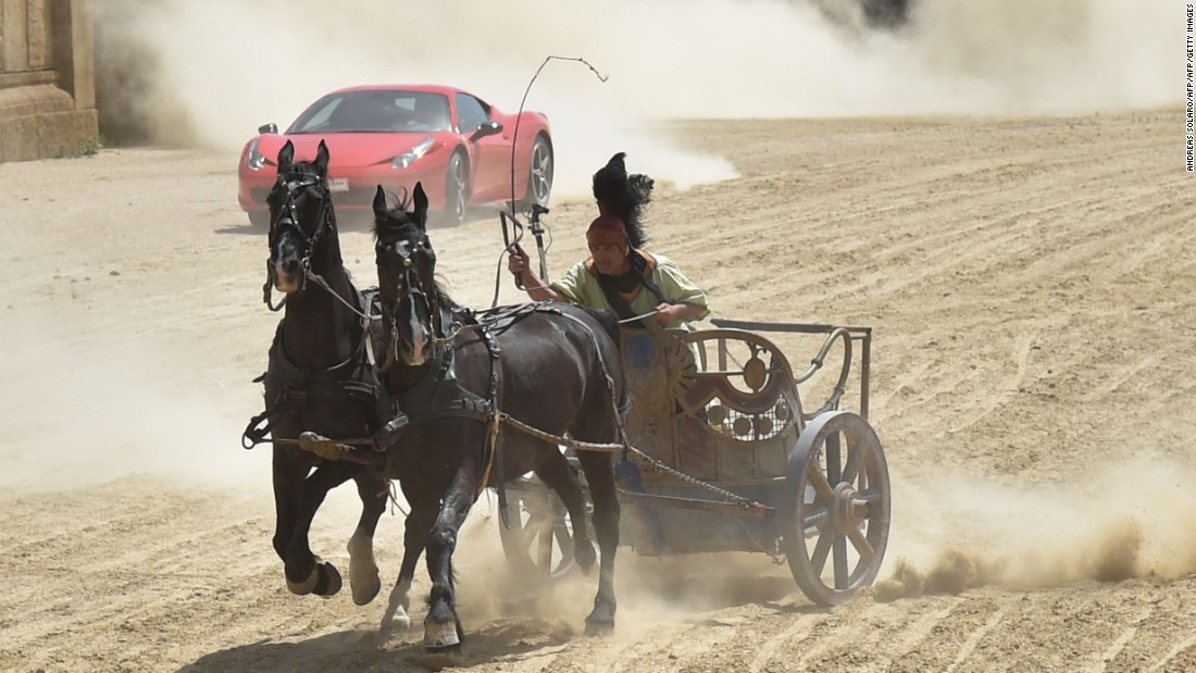In a race that pitted ancient Rome against a modern motor, the horses were little match for the Ferrari.