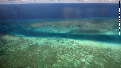 Aerial view of a reef near Philippines-controlled Pagasa Island in the South China Sea.