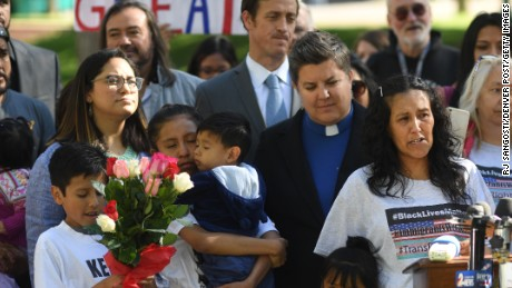 Undocumented immigrant Jeanette Vizguerra stands with her family as she addresses supporters Friday in Denver.