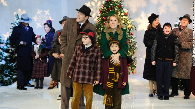 the cast of the broadway music a christmas story performs on