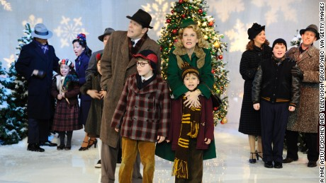 "The cast of the Broadway music ""A Christmas Story"" performs on ""Good Morning America"" in 2012."