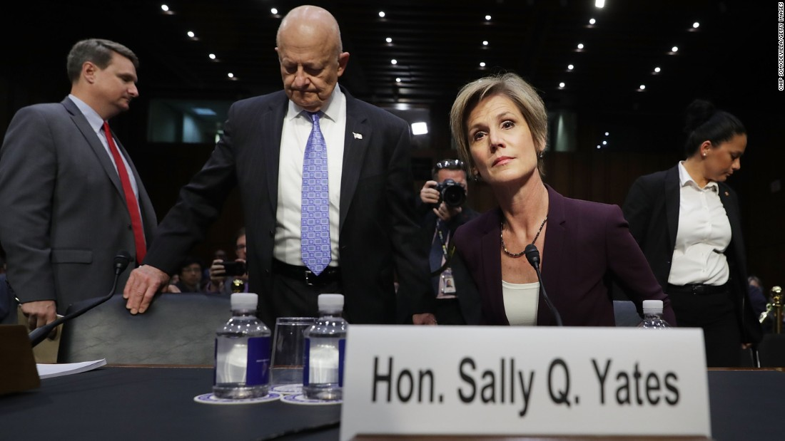 "Former acting Attorney General Sally Yates and former Director of National Intelligence James Clapper, center, prepare to testify to a Senate subcommittee in Washington on Monday, May 8. It was a high-profile hearing on Russian meddling into the US election. <a href=""http://www.cnn.com/2017/05/08/politics/sally-yates-hearing-russia-things-we-learned/"" target=""_blank"">5 things we learned from the hearing</a>"