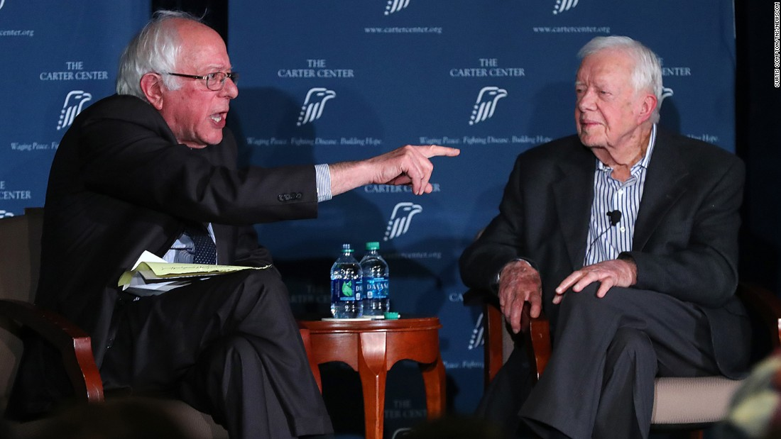 "US Sen. Bernie Sanders, left, and former President Jimmy Carter speak at a Carter Center forum in Atlanta on Monday, May 8. The two <a href=""http://www.cnn.com/2017/05/08/politics/jimmy-carter-bernie-sanders/"" target=""_blank"">seemed to agree on a range of major issues</a> as they spoke at length about the current direction of the country and human rights across the globe. ""Can y'all see why I voted for him?"" Carter told the crowd. <a href=""http://www.cnn.com/2017/05/06/politics/gallery/week-in-politics-0507/index.html"" target=""_blank"">See last week in politics</a>"