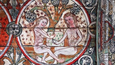 Adam and Eve in the Garden of Eden, as depicted in a 13th-century fresco on display in Norway.