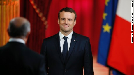 Emmanuel Macron is sworn in as French President at the Elysee Palace in Paris on Sunday.