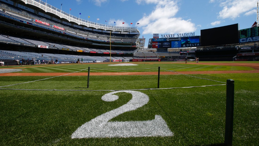 Jeter's number is painted on the field before a game at Yankee Stadium on Sunday, May 14. Jeter had his number retired between a doubleheader.