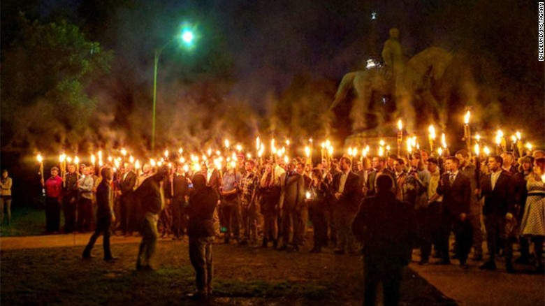 Torches brought to confederate statue protest