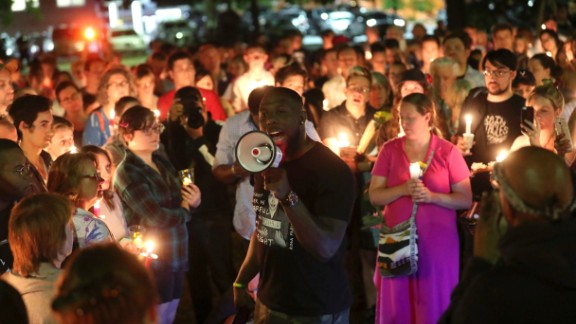Wes Bellamy speaks in support of removal of confederate monuments during a counter-protest against those on Saturday evening gathered to call on officials to halt the removal of a Gen. Robert E. Lee statue in Charlottesville, Va., Sunday, May 14, 2017. (Ryan M. Kelly/The Daily Progress via AP)