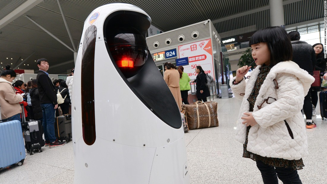 "Designed for use in transport hubs, E-Patrol Robot Sheriff is currently on the beat in Zhengzhou East Railway Station, China. Using a system of cameras, the robot moves autonomously through public spaces and has facial recognition technology. As well as detecting fires and potential safety hazards, <a href=""http://finance.sina.com.cn/roll/2017-02-12/doc-ifyamkpy8908614.shtml"" target=""_blank"">local media reports</a> that the robot can cross-reference faces to police databases, and will follow a wanted person until the police arrive."