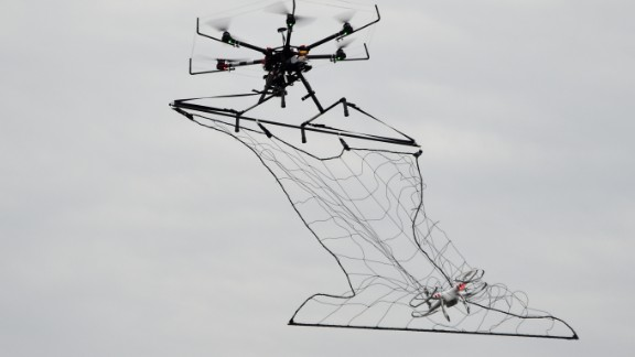 In 2015 Tokyo Metropolitan Police unveiled a drone capable of taking out other drones, capturing them in a net. The police adapted current drone technology after a quadcopter carrying radioactive material was flown onto the rooftop of Japanese Prime Minister Shinzo Abe's office in April 2015.
