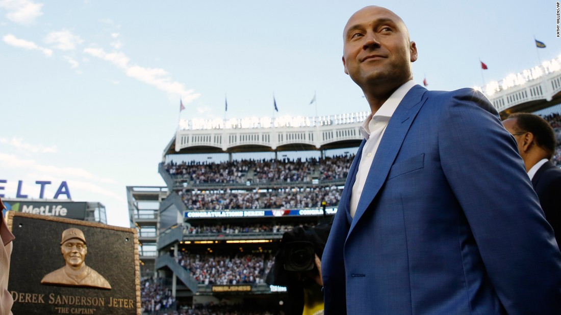 "Baseball legend Derek Jeter has his jersey number retired by the New York Yankees on Sunday, May 14. <a href=""http://www.cnn.com/2014/09/22/worldsport/gallery/derek-jeter/index.html"" target=""_blank"">See photos from Jeter's career in pinstripes</a>"
