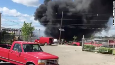 Twitter user GodwinClassic33 posted a video showing smoke from the scene of the crash on Monday, May 15.
