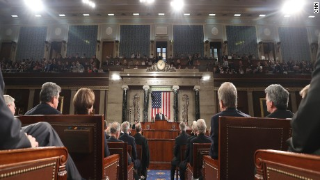 The House of Representatives chamber during President Trump's first address to a joint session of Congress.