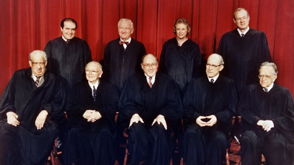 Kennedy, top right, appears in a formal Supreme Court portrait in April 1988. In the front row, from left, are Thurgood Marshall, William Brennan Jr., Chief Justice William Rehnquist, Byron White and and Harry Blackmun. In the back row, from left, are Antonin Scalia, John Paul Stevens, Sandra Day O'Connor and Kennedy.