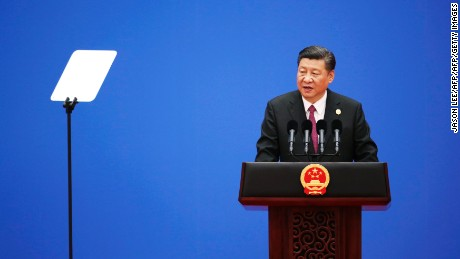 Chinese President Xi Jinping speaks during a news conference at the Belt and Road Forum, at the International Conference Center in Yanqi Lake, north of Beijing, on May 15, 2017.  Chinese President Xi Jinping urged world leaders to reject protectionism on May 15 at a summit positioning Beijing as a champion of globalisation, as some countries raised concerns over his trade ambitions. / AFP PHOTO / POOL / JASON LEE        (Photo credit should read JASON LEE/AFP/Getty Images)