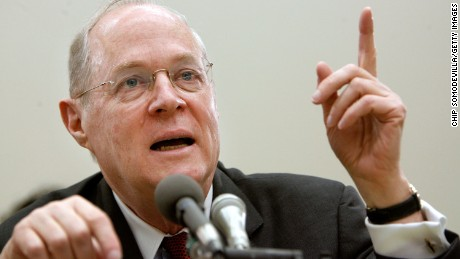 U.S. Supreme Court Justice Anthony Kennedy testifies before the House Financial Services and General Government Subcommittee on Capitol Hill March 8, 2007 in Washington, DC. Kennedy and Justice Clarence Thomas spoke about concerns with the ongoing remodeling of the court building, the reduction of paperwork due to electronic media and the disparity of pay between federal judges and lawyers working in the private sector.