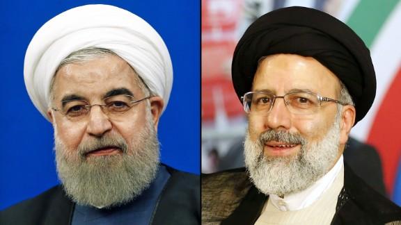 Iranian president Hassan Rouhani and his election rival Ebrahi Raisi.