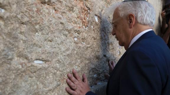 The new US Ambassador to Israel, David Friedman, visited the wall Monday.