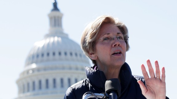 WASHINGTON, DC - MARCH 22:  U.S. Sen. Elizabeth Warren (D-MA) speaks during a rally in front of the Capitol March 22, 2017 in Washington, DC. Sanders urged the U.S. Sen. Bernie Sanders (I-VT) to reject President Donald Trump