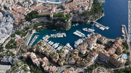 An aerial view of a harbor, on September 20, 2013, in Monaco.  AFP PHOTO / VALERY HACHE        (Photo credit should read VALERY HACHE/AFP/Getty Images)